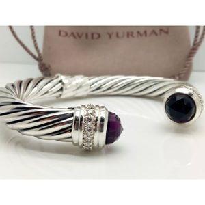 Auth David Yurman Amethyst & Diamond 10mm Bracelet